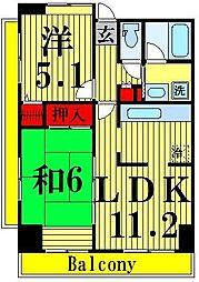 コーポレート竹ノ塚2丁目[506号室]の間取り