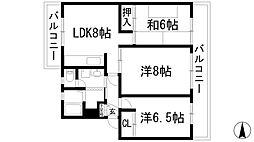 兵庫県宝塚市鹿塩1丁目の賃貸マンションの間取り