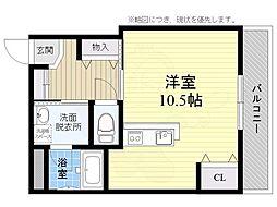 JR東海道・山陽本線 摂津富田駅 徒歩15分の賃貸マンション 3階ワンルームの間取り