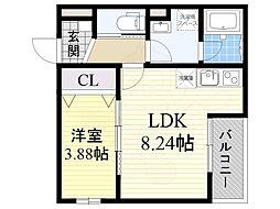 JR阪和線 長居駅 徒歩3分の賃貸アパート 2階1LDKの間取り