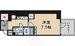 阪神本線 西宮駅 徒歩4分の賃貸マンション 10階1Kの間取り