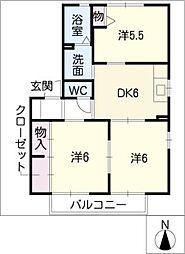 ハピネス C棟[1階]の間取り