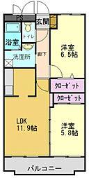 グリーンコート加古川2番館[206号室]の間取り
