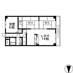 ヒルズ東大阪[305号室号室]の間取り