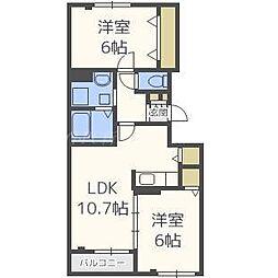 北海道札幌市北区太平三条3丁目の賃貸アパートの間取り