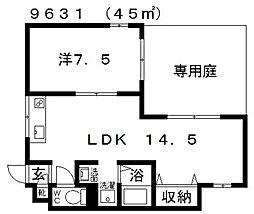 センターフィールド[105号室号室]の間取り