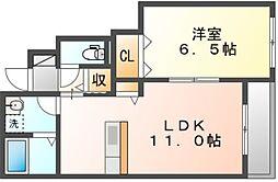 JR宇野線 備前西市駅 徒歩12分の賃貸アパート 1階1LDKの間取り