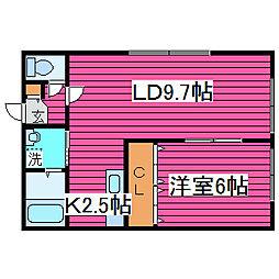 北海道札幌市北区百合が原8丁目の賃貸アパートの間取り