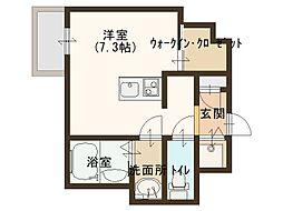 JR大阪環状線 玉造駅 徒歩8分の賃貸マンション 5階ワンルームの間取り