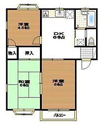 神奈川県座間市ひばりが丘3丁目の賃貸アパートの間取り
