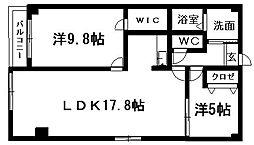 静岡県浜松市中区蜆塚1丁目の賃貸マンションの間取り
