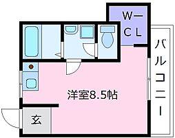 南海高野線 北野田駅 徒歩5分の賃貸マンション 3階ワンルームの間取り