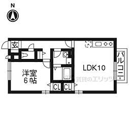 近鉄京都線 上鳥羽口駅 徒歩28分の賃貸アパート 1階1LDKの間取り