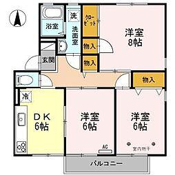 長野県松本市横田1丁目の賃貸アパートの間取り