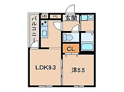フジパレス和歌山南III番館 3階1LDKの間取り