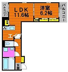 フィオーレ・タチバナ C 2階1LDKの間取り
