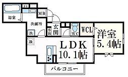 グレイスコート神戸永手町 1階1LDKの間取り