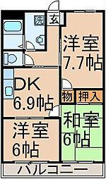 東京都あきる野市渕上の賃貸マンションの間取り