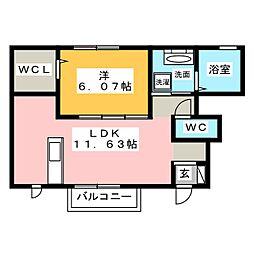 新築(仮称)D-room知多市南巽が丘 1階1LDKの間取り