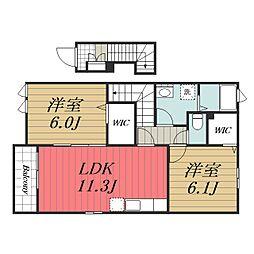 JR総武本線 八街駅 徒歩12分の賃貸アパート 2階2LDKの間取り
