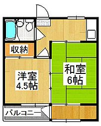 稲荷マンションB棟[1階]の間取り