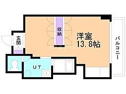 UURコート札幌南三条プレミアタワー 14階ワンルームの間取り