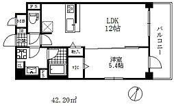 シェリール六甲道 7階1LDKの間取り