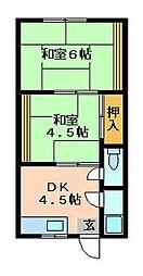 大阪府四條畷市岡山東2丁目の賃貸アパートの間取り