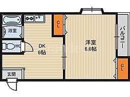 ベルダァー1番館鶴見[4階]の間取り