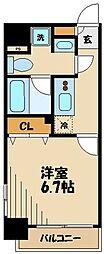 プレール・ドゥーク京橋 13階1Kの間取り
