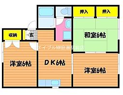 岡山県岡山市南区当新田丁目なしの賃貸アパートの間取り