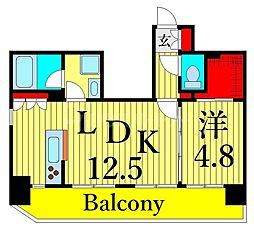 東京メトロ日比谷線 三ノ輪駅 徒歩6分の賃貸マンション 5階1LDKの間取り