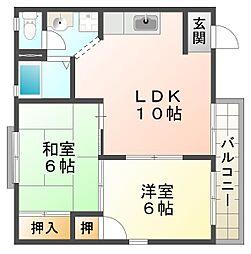 兵庫県神戸市垂水区福田3丁目の賃貸アパートの間取り