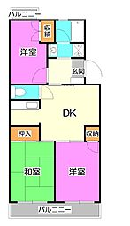 埼玉県富士見市鶴瀬東2丁目の賃貸マンションの間取り