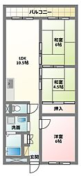 大阪府寝屋川市点野5丁目の賃貸マンションの間取り