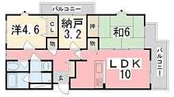 ドール辻井[201号室]の間取り