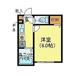 JR中央本線 中野駅 徒歩5分の賃貸マンション 2階1Kの間取り