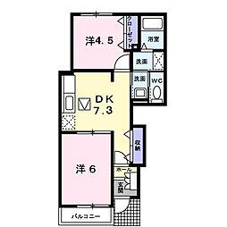 埼玉県鴻巣市東2丁目の賃貸アパートの間取り