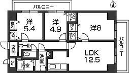 キャッスルコート東辻井[10階]の間取り