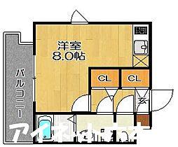 福岡市地下鉄七隈線 渡辺通駅 徒歩6分の賃貸マンション 3階1Kの間取り