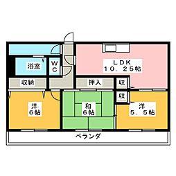 葉山マンションII[6階]の間取り