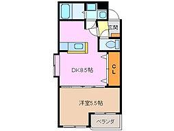 三重県鈴鹿市野町東2の賃貸アパートの間取り
