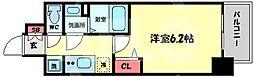 プレサンス天神橋六丁目ヴォワール 6階1Kの間取り