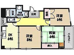 エクセレント京橋 5階3DKの間取り