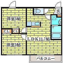 VEGA平岡1-2[3階]の間取り