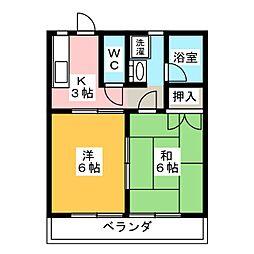 コーポ・ミレニアムB[2階]の間取り