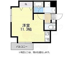 AXIS平尾1番館 1階ワンルームの間取り