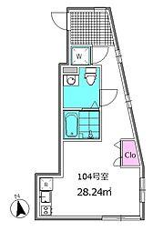Mono-Ris 1階ワンルームの間取り