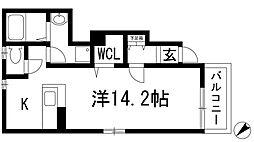 兵庫県川西市南花屋敷3丁目の賃貸アパートの間取り