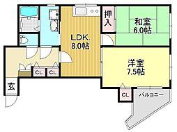 吉豊マンション[6階]の間取り